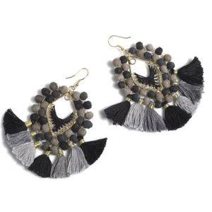 Shiraleah Amy Tassel Earrings Black Boho